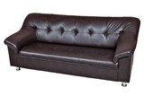 Dark brown sofa imitation leather isolated on white background.