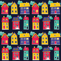 Seamless pattern with houses and cloud