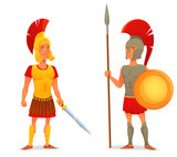cartoon illustration of ancient Roman and Greek soldier - 130639441