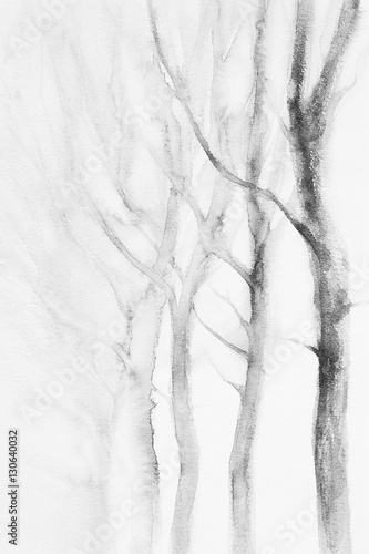 white trees winter watercolor - 130640032