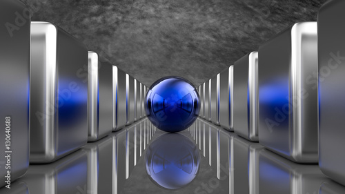 Niebieska kula z sześcianami