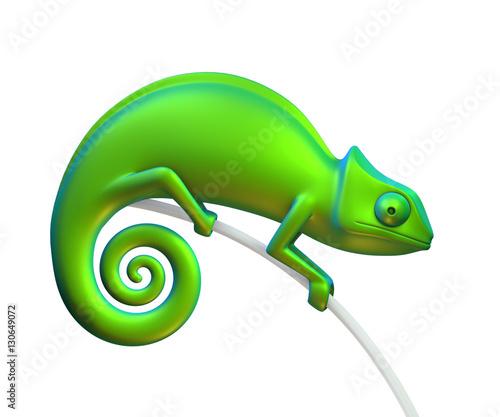 Fototapeta Green chameleon on a white background. 3d rendering