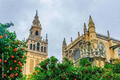 detail of la giralda tower in the spanish city sevilla