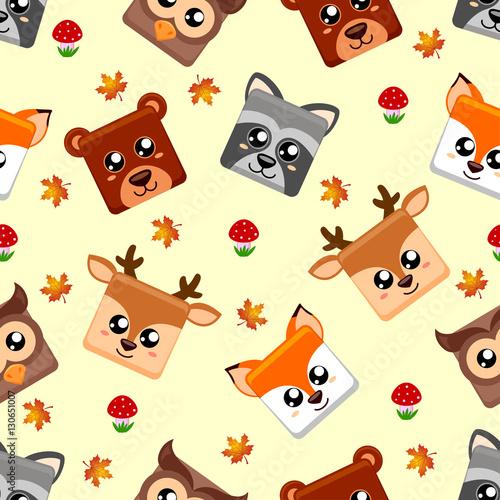 Seamless pattern with forest animals. Fox, deer, owl, raccoon, bear