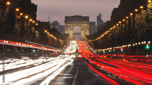 Evening lights on Champs Élysées - Paris