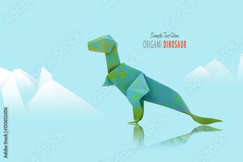 Plagát Paper green dinosaur