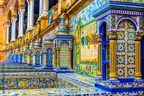 The tiled walls of Plaza de Espana. Seville. Spain.