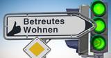 Wegweiser, Daumen hoch für Betreutes Wohnen - 130655245