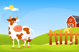 cute cartoon illustration of a happy cow on farm