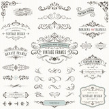 Ornate vintage design elements with calligraphy swirls, swashes, ornate motifs and scrolls. Frames and banners. - 130662071