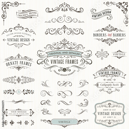 Ornate vintage design elements with calligraphy swirls, swashes, ornate motifs and scrolls. Frames and banners.