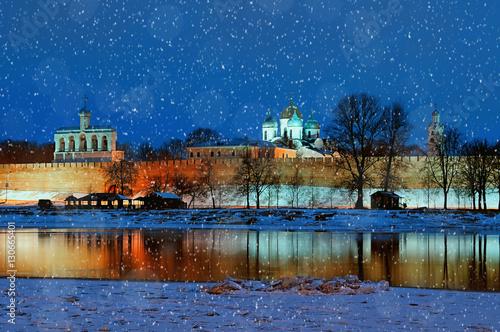 Poster Night view of Veliky Novgorod Kremlin in Veliky Novgorod, Russia