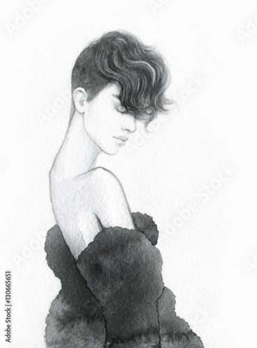 Beautiful woman portrait. Abstract fashion watercolor illustration - 130665651