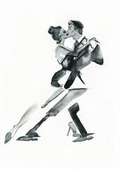 tango dance .watercolor illustration © Anna Ismagilova