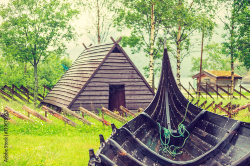 Foto op Aluminium Schip Part of old wooden viking boat in norwegian nature