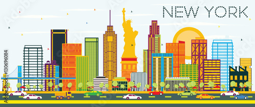 New York Skyline with Color Buildings and Blue Sky. - 130696084