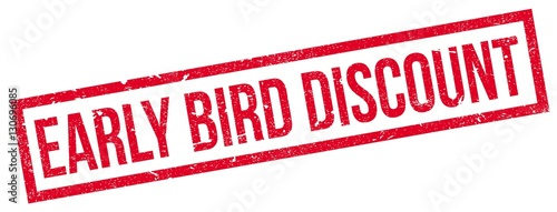Early Bird Discount rubber stamp. Grunge design with dust scratches. Effects can be easily removed for a clean, crisp look. Color is easily changed.