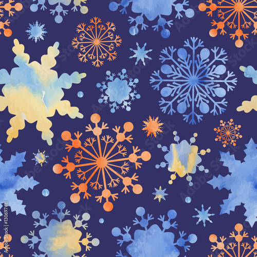 Cotton fabric Snowflakes with a watercolor texture.