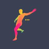 Football player. 3D Model of Man. Sport Symbol. Design Element.