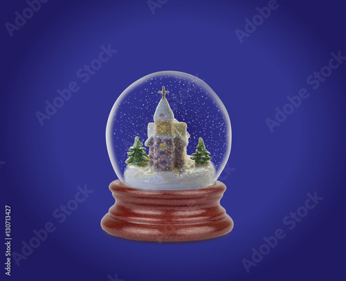 Foto op Canvas Violet Christmas snow ball or glass globe. Can be used as a Christmas or a New Year gift or symbol.