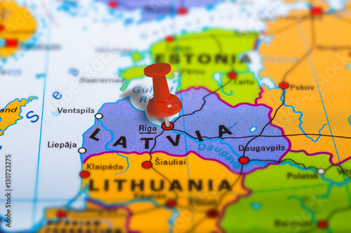 Plakat Riga Latvia pinned on colorful political map of Europe