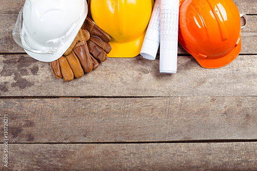 hardhat and old leather gloves Poster