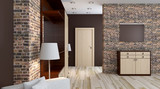 Modern interior of a small apartment. hallway. 3D rendering - 130726412