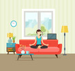 Woman meditating. Living room. Woman in yoga pose, lotus position. Vector flat illustration isolated - 130733850