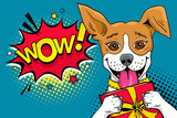 Fototapety Wow pop art dog. Funny surprised dog with open mouth and gift box in his paws and Wow speech bubble. Vector colorful illustration in retro comic style.