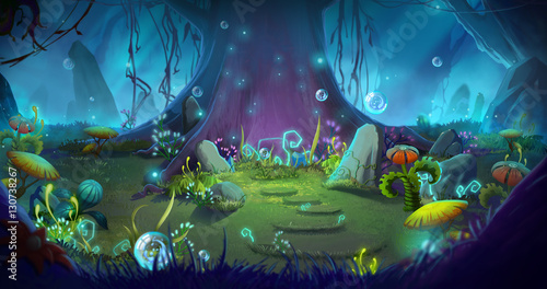 Fantastic and Magical Forest. Video Game's Digital CG Artwork, Concept Illustration, Realistic Cartoon Style Background