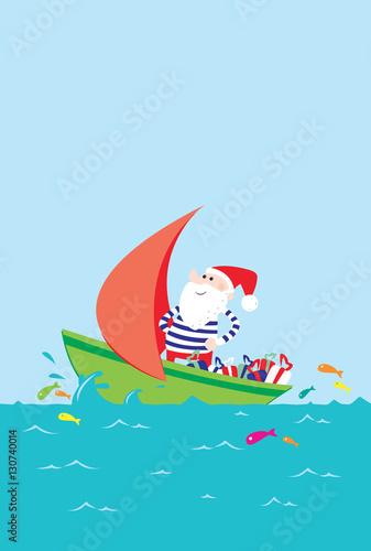 Père Noël en marinière navigant sur la mer  - 130740014