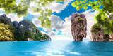 Paisaje pintoresco,Islas y montañas en Tailandia,Phuket.Mar y oceano en viajes exoticos en Asia