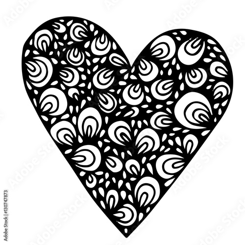 Black isolated ornamental heart