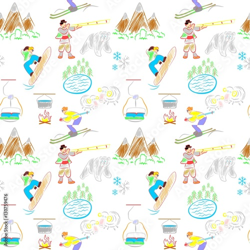 Cotton fabric vacation and mountains background