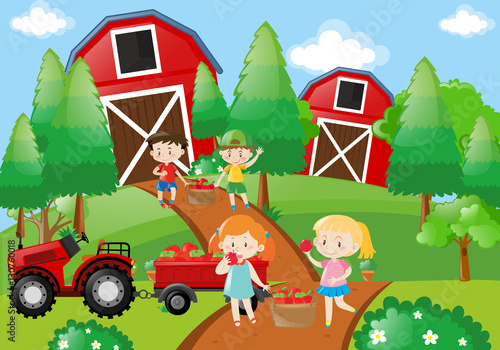 Tuinposter Lime groen Children pick up fruit in the farm