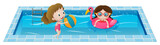 Fototapety Two girls playing in the swimming pool