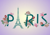 Vector illustration of Paris text design