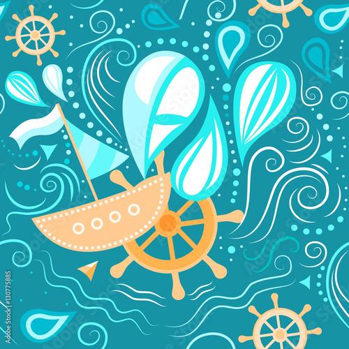 Materiał do szycia Wektor wzór życia morskiego