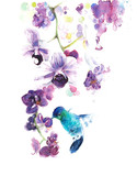 Orchids the tropical flowers watercolor painting illustration handmade isolated on white background greeting card