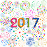 Happy New Year 2017 with fireworks background