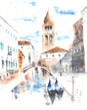 Venice Italy watercolor painting illustration greeting card handmade