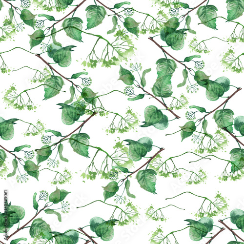 Seamless vintage pattern - branch of a linden, watercolor. Linden tree, linden flowers, green leaves watercolor. © helgafo