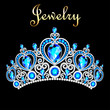 Illustration female crown, tiara, with blue precious stones