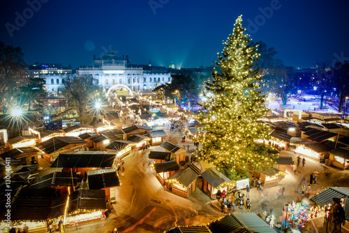 Vienna traditional Christmas Market 2016, aerial view at blue hour (sunset)