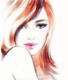 Woman portrait. Fashion illustration. Watercolor painting - 130848009
