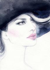 Woman portrait. Fashion illustration. Watercolor painting © Anna Ismagilova