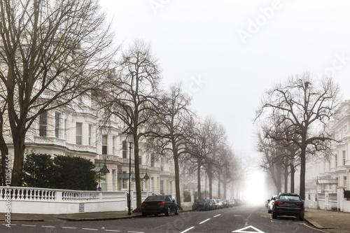 London residential area in fog, winter Poster