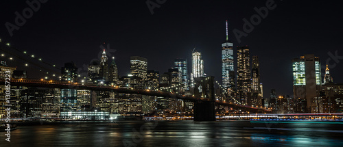 Brooklyn Bridge and New York City at night - 130857223