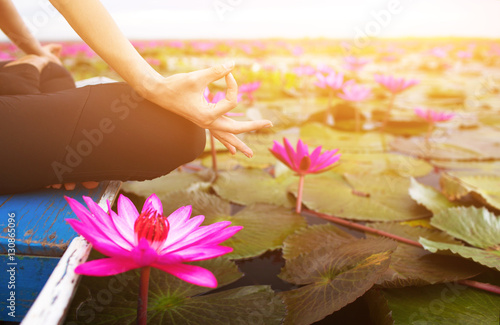 Foto op Canvas Zen serenity and yoga practicing on the red lotus sea,Thailand