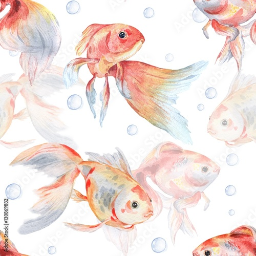 Seamless pattern with goldfish and bubbles 1. Watercolor painting. Handmade drawing. - 130869882
